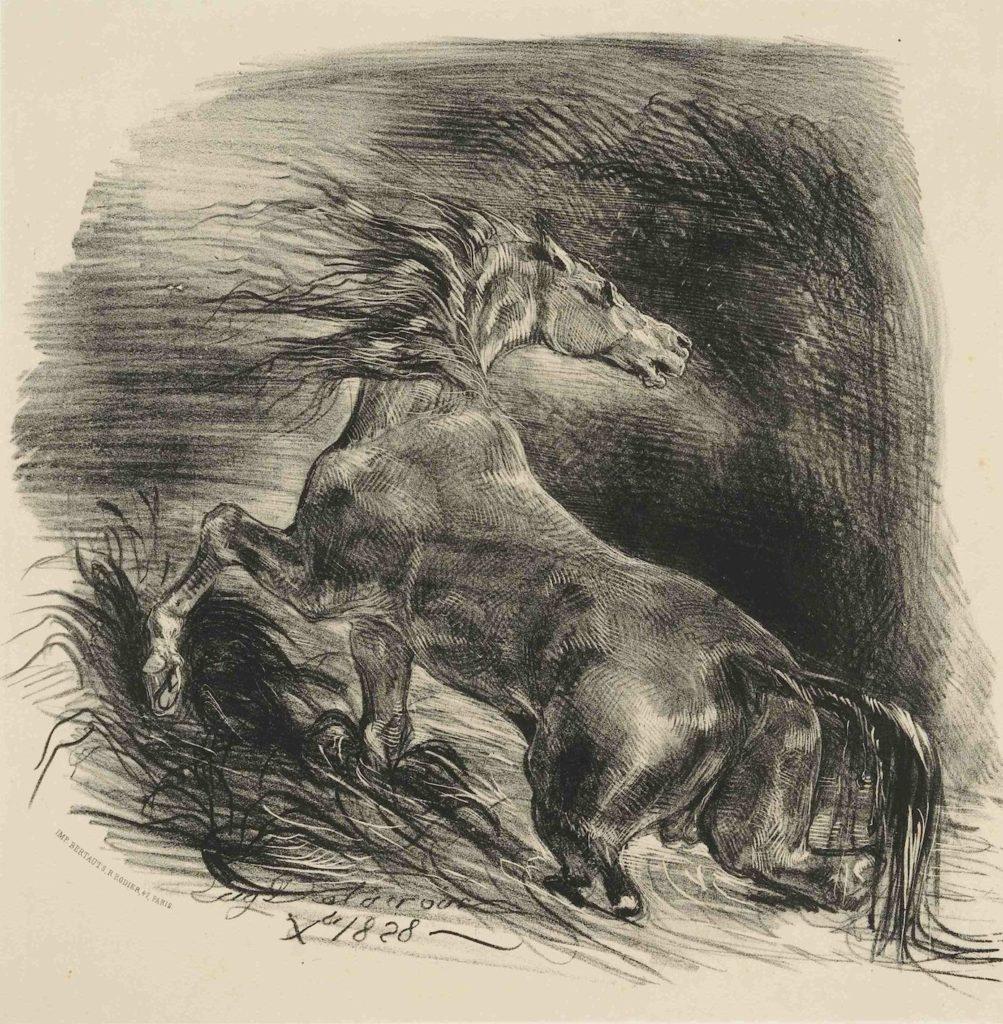 Ferdinand Victor Eugène Delacroix, A Study of a Horse, (detail) 1828.