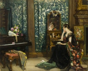 Nestor Cambier (1879 – 1957), Portrait of Lady Barber Seated at Her Dressing Table, Culham Court, c. 1928. Oil on canvas, 23x28.3cm. ©The Henry Barber Trust, the Barber Institute of Fine Arts.