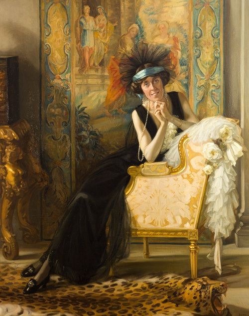 Nestor Cambier (1879 – 1957), Portrait of Lady Barber by a Leopard-skin Rug, about 1923. Oil on canvas, 168x132cm.©The Henry Barber Trust, the Barber Institute of Fine Arts.
