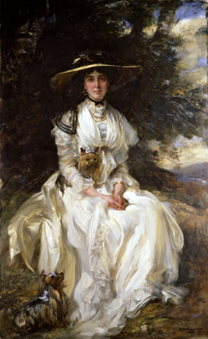 James Jebusa Shannon (1862 - 1923), Portrait of Lady Barber in a Landscape, c.1912, oil on canvas