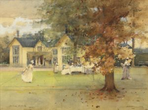he Lawn Tennis Party at Marcus,  Arthur Melville, 1889
