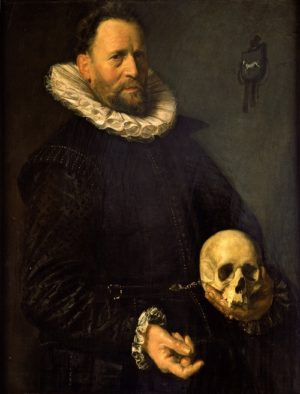 Frans Hals 1581/5-1666), Portrait of a Man Holding a Skull, c1610/1614. Oil on wood, 94 x 72.5, acq. June 1938