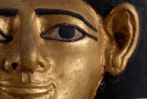 Mummy Mask made of Gilded Cartonnage, (detail), Middle Kingdom, 12th Dynasty. © Myers Collection at Eton College.