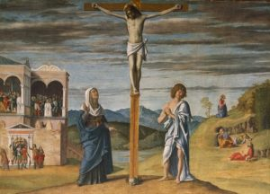 Giovanni Battista Cima (1459/60-1517/18), Christ on the Cross with the Virgin and St. John the Evangelist, c1488/1493. Tempera on wood, 82.5cm x 115.2cm, acq. April 1938