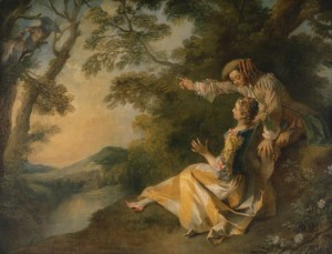 Nicolas Lancret (1690-1743), Lovers in a Landscape, c1736. Oil on canvas, 60.5cm x 45.3cm, acq. January 1937