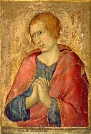 Simone Martini (c.1284-1344), St. John the Evangelist, 1320. Tempera on wood, 41.7 x 30.3cm (including integral frame), acq. December 1938