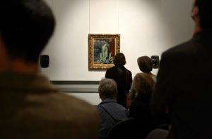 Guests listen to Julien Guillamat's composition for Magritte's 'Flavour of Tears'