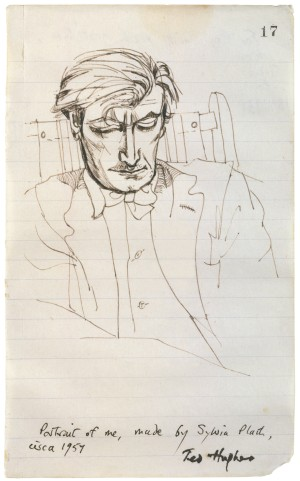 Sylvia Plath (1931-1962), Ted Hughes, about 1957. Pen and ink. © estate of Sylvia Plath / Faber & Faber Ltd.