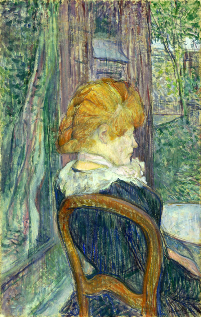 'A Woman Seated in a Garden' by Henri de Toulouse-Lautrec (Blue Gallery)