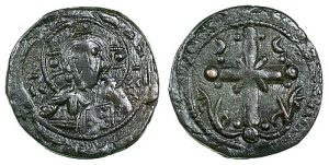 An anonymous follis, which employs simply the bust of Christ on the obverse and a cross on the reverse.
