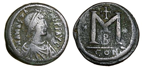 The standard Byzantine 40 nummi piece, as introduced by the reforms of Anastasius I (491-517) in 498.