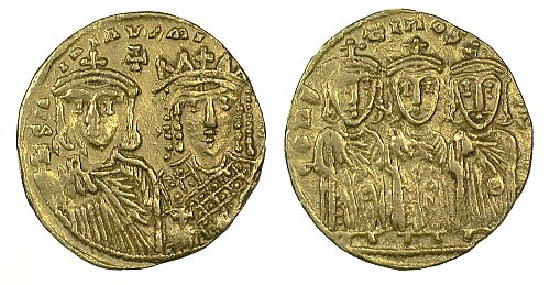 A pictoral family tree. Here Constantine VI (780-797) is shown alongside his mother and regent, Eirene, with his father, Leo IV (775-780), grandfather, Constantine V (741-780) and great grandfather, Leo III (717-741) shown on the reverse.