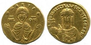Gold nomisma of Leo VI (886-912) showing the Theotokos.