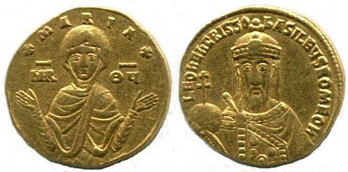 Gold nomisma of Leo VI (886-912) showing the Theotokos.