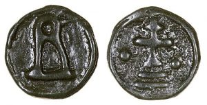 Cast base metal coin of Basil I (867-886), mint of Cherson. Unlike the other Byzantine mints which struck coins with dies, Cherson in the Crimea cast them with moulds from the ninth century.