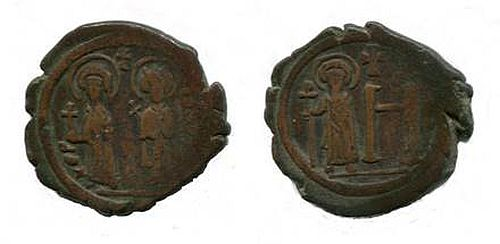 Cherson in the Crimea remained a numismatic law unto itself, this an anonymous base coin of the sixth century.