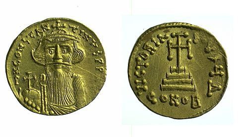 A gold Constantinopolitan nomisma of Constans II (641-668), who was was known as 'pogonatos' - the bearded.