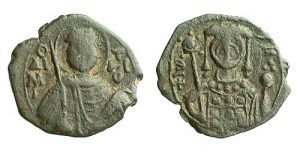 Base metal half-tetarteron of John II (1118-1143) from Thessalonike, showing Saint Demetrios.
