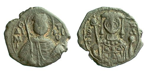 Base metal half-tetarteron of John II (1118-1143) from Thessalonike, showing Saint Demetrios.