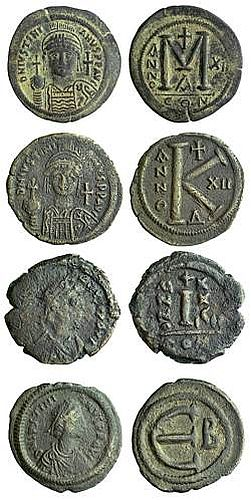 Base coins of Justinian I (527-565) worth 40 (M), 20 (K), 10 (I) and 5 (E) nummi, as we have coins worth 50, 20, 10, 5, 2 and 1 pence.