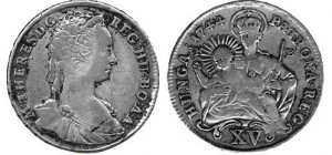 Silver 15 Kreuzer of the Empress Maria Theresa (front and reverse)