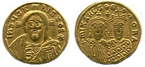 Gold nomisma of Michael III (842-867) with his mother and regent, Theodora, and the bust of Christ on the obverse.