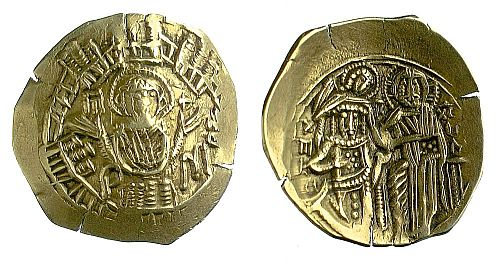 Gold hyperpyron of Michael VIII Palaiologos (1259-1282) produced at Constantinople, following Michael's recapture of the city for the Greeks in 1261.