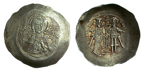 Silver trachy of Theodore I Komnenos-Lascaris, Emperor of Nicaea (1208-1222), shown beside Saint Theodore on the reverse, with Christ Emmanouel on the obverse.