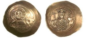 "A debased ""gold"" coin of Nikephoros III Botaneiates (1078-1081) - this is also concave, but it is difficult to see in a frontal photograph."