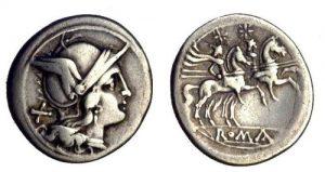 A Republican denarius depicting the head of Roma and dioscuri.