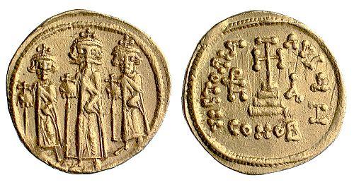 'We three kings of Byzantium are'. Herakleios and inventively named sons Herakleios Constantine and Constantine Herakleios.