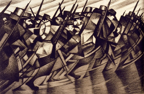 CRW Nevinson, 'Returning to the Trenches', c. 1916 ©The Barber Institute of Fine Arts