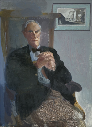 Humphrey Ocean, Portrait of Sir Julian Bullard Oil on canvas, 1994, © Research and Cultural Collections, University of Birmingham