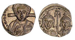 A gold tremissis from the second reign of Justinian II (705-711).