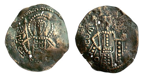 Base coin of George Komnenos, Emperor of Trebizond (1266-1280), with St. George carrying a spear on the obverse.