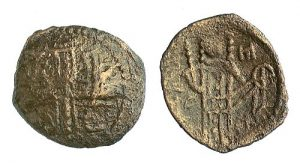 A base coin of Alexios III, Emperor of Trebizond (1349-1390), showing a jewelled cross instead of a saint.