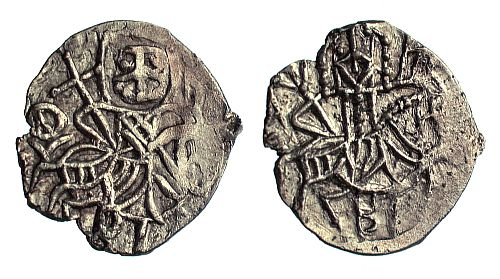 A debased silver half asper of Alexios IV, Emperor of Trebizond (1417-1446), showing both Alexios and St. Eugenios on hoarseback. Like the Constantinopolitan coins, the later Trapezuntine coins become smaller and less well-executed.