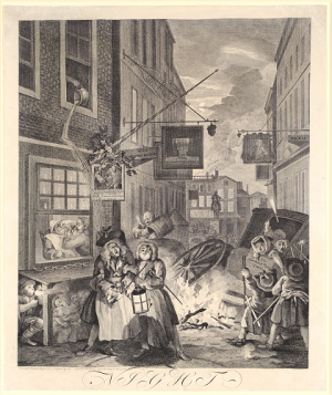 Hogarth, William (1697-1764), 'Night (from The Four Times of the Day)', 1738