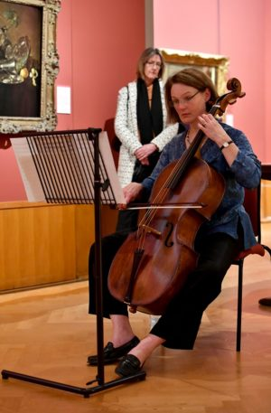 Atmospheric 17th-century cello music played in the Red Gallery