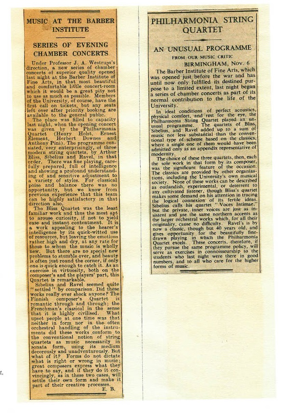 Birmingham Post, reviews of the first professional Barber evening concert, 5 November 1945