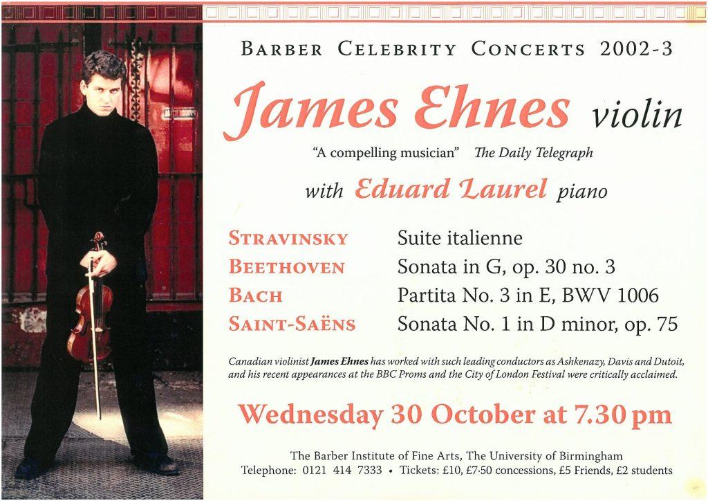 2. James Ehnes (violin) and Eduard Laurel (piano)