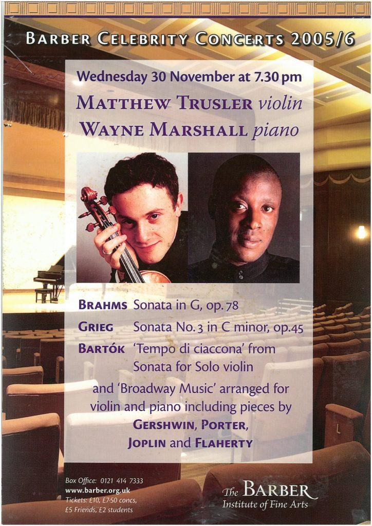 5. Matthew Trusler (violin) and Wayne Marshall (piano)