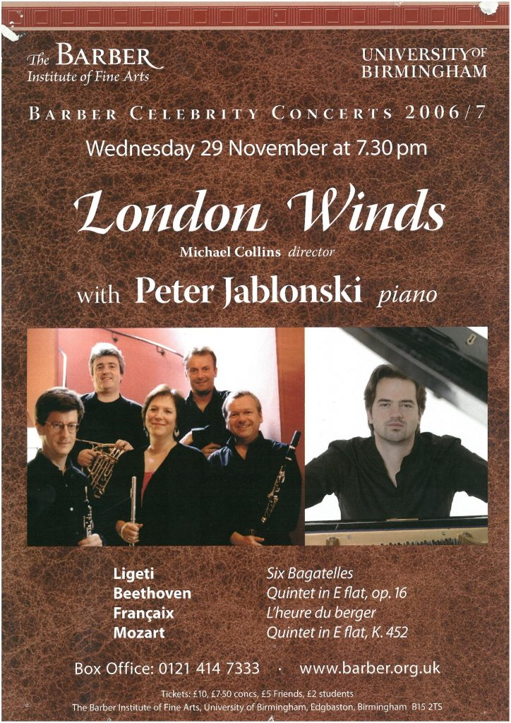 6. London Winds with Peter Jablonski (piano)