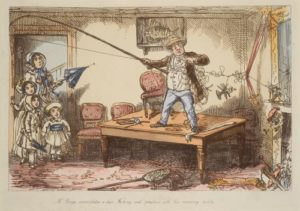 Coloured etching showing Mr Briggs stood on a dining table in his home, waving a fishing rod. His family watches from a door way.