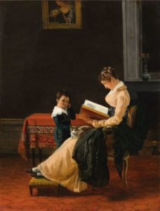 Oil painting on canvas. A woman sits reading