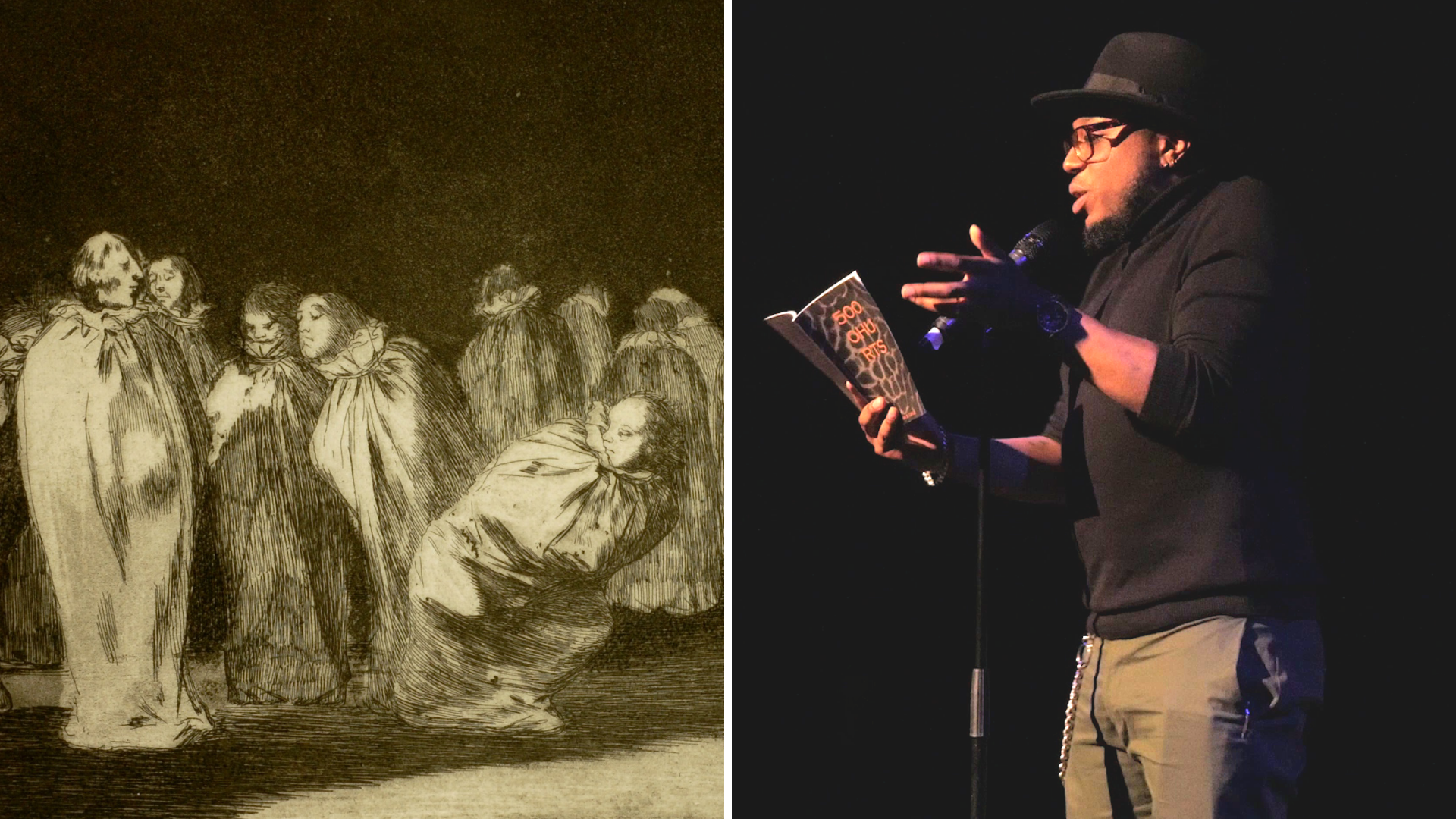 A detail of Goya's print, showing people in sackcloths in darkness; Adrian speaking on stage, reading from his pamphlet.