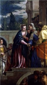 Painting depicts The Virgin greets her elderly cousin Elizabeth with news of the impending birth of Christ